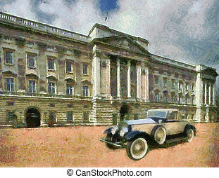 Rolls Royce Phantom II Henley Roadster in front of Palace. Oil Painting (Monet Style).