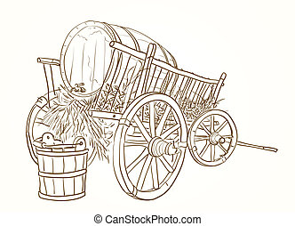 vintage cart with a barrel of wine