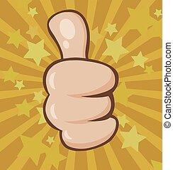 Vintage Cartoon Hand Giving Thumbs Up Gesture
