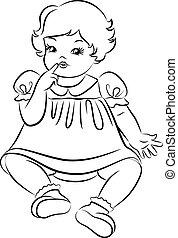 Vintage cartoon little girl.