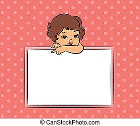 cartoon little girl with banner