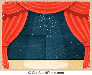 Vintage Cartoon theater. Theater curtain with spotlights beam and stars. Retro Open theater