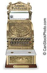 Vintage cash register front view