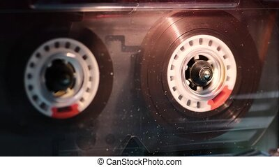 vintage cassete play - vintage cassette playing inside music...