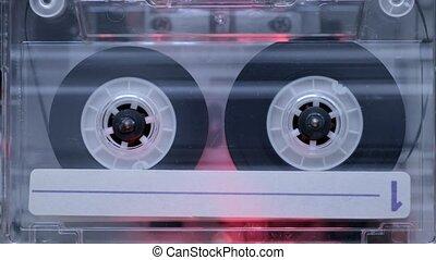 vintage cassette start playing inside deck