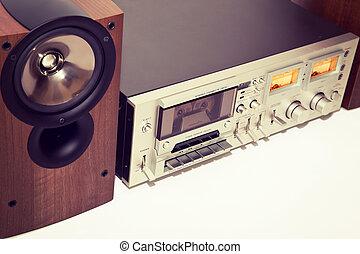 Vintage cassette stereo tape deck recorder