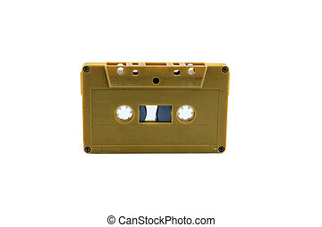 vintage cassette tape isolated white background, with clipping path