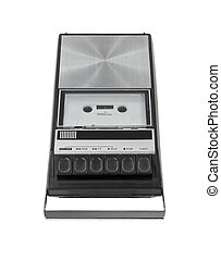 Vintage cassette tape player recorder isolated with clipping path.