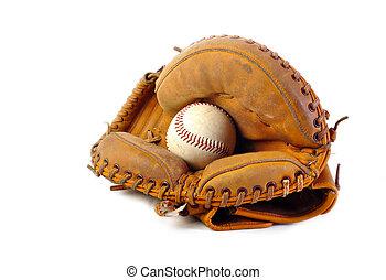Vintage catchers mitt on white background