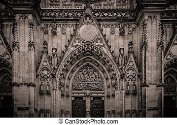 Vintage cathedral facade details