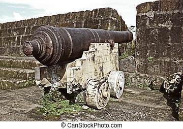 old cannon - vintage, century old cannon displayed at...