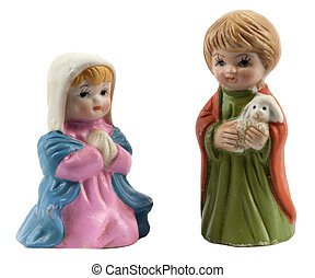 Vintage ceramic figurines of Mary and the little shepherd boy
