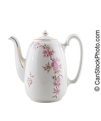 Vintage ceramic teapot, isolated on white background, clipping path.