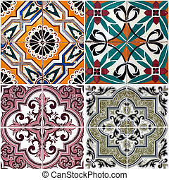 Vintage ceramic tiles - Colorful vintage ceramic tiles wall...