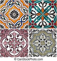 Vintage ceramic tiles - Colorful vintage ceramic tiles wall...