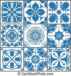 Vintage ceramic tiles vector illustration. Floor seamless design texture set