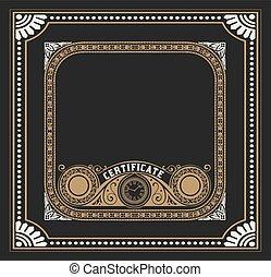 Vintage certificate design. Greeting card, invitation or menu with old frames