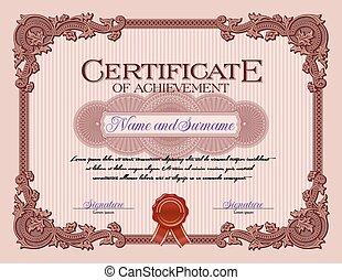 Vintage Certificate of Achievement