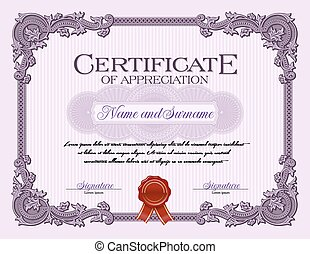 Vintage Certificate of Appreciation
