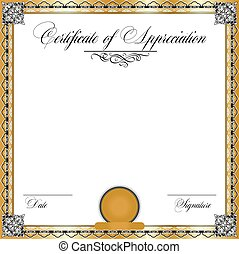 Vintage certificate of appreciation with ornate elegant retro abstract floral design
