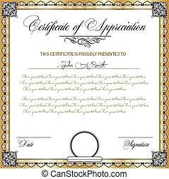 Vintage certificate of appreciation with ornate elegant ...