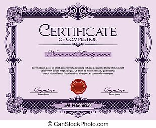 Vintage Certificate of Completion.
