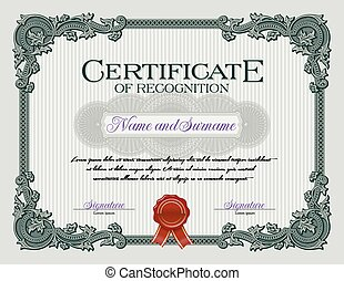 Vintage Certificate of Recognition