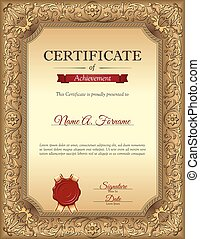 Vintage certificate of recognition Portrait