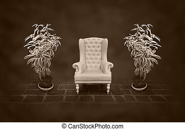 vintage chair in a dark room