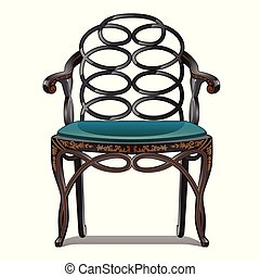 Vintage chair isolated on white background. Vector illustration.