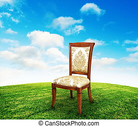 Vintage chair on grass