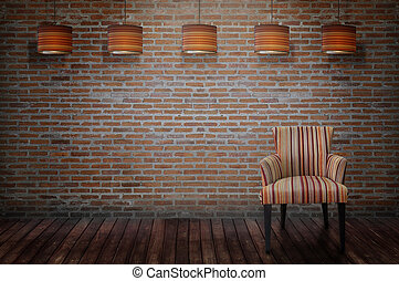Vintage chair standing beside the wall.