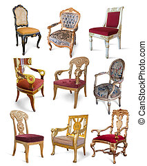 Vintage chairs over white