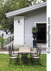 Vintage chairs set  in garden