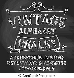 Chalk roman alphabetical set. Vintage uppercase letters, numbers, special signs and money symbols.