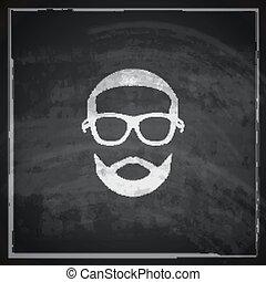 vintage chalk illustration of male head with sunglasses on...
