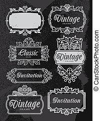 Vintage chalkboard banner frame set