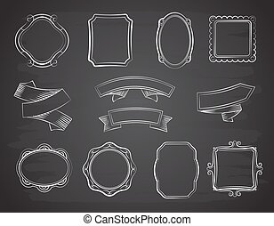 Vintage chalkboard hand drawn ribbon banners, picture frames and labels on black chalkboard vector set