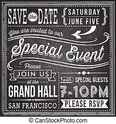 Vintage Chalkboard Invitation