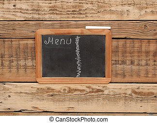 vintage chalkboard menu, free space for your copy, with old wooden background