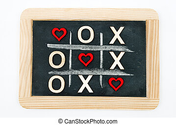 Vintage chalkboard with Tic Tac Toe Game