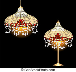 vintage chandelier and table lamp with crystal pendants -...