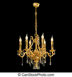 Vintage chandelier isolated on black background with ...