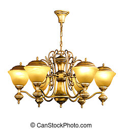 Vintage chandelier isolated on white background with ...