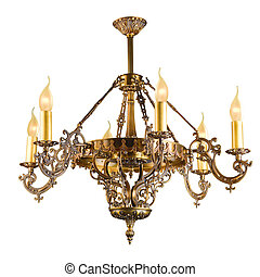 Vintage chandelier isolated on white with clipping path - ...