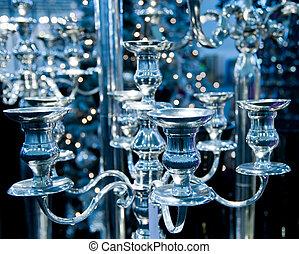 Vintage chandelier toned in blue