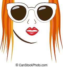 Vintage character girl glasses. Beautiful happy young woman