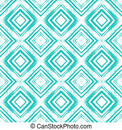 Vintage checked seamless pattern with brushed lines in tropical blue. Texture in art deco style for web, print, home decor, spring summer fashion fabric, textile, website background, gift paper