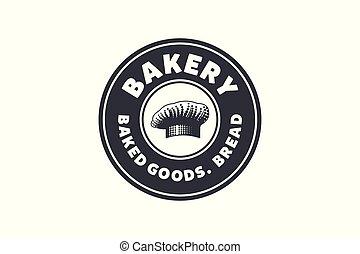 vintage chef hat, hand drawn bakery shop emblem, logo Designs Inspiration Isolated on White Background