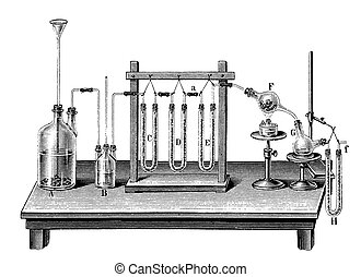 Vintage chemistry engraving -  chemical composition of water